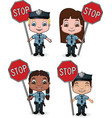 kid cops with stop signs vector image vector image