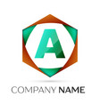 letter a symbol in the colorful hexagonal vector image vector image