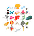 making movie icons set isometric style vector image vector image
