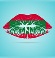 maldives flag lipstick on the lips isolated on a vector image