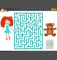 maze game with cartoon girl and teddy bear vector image vector image