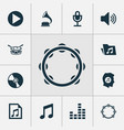 music icons set collection of phonograph mike vector image vector image