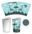 paper cup template with street cafe and coffee cup vector image vector image