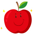 Red apple with happy face vector image vector image