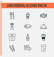 restaurant icons set with cutlery tray exit sign vector image vector image