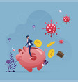 ride piggy bank runaway from corona virus vector image vector image
