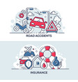 road accidents and insurance service banner vector image