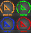 ruler icon Fashionable modern style In the orange vector image