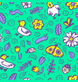 seamless pattern with flowers and insects floral vector image vector image