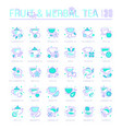 set blue line icons fruit and herbal tea vector image vector image