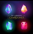 set colorful shiny gemstones vector image