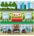 set of fast food interior flat posters vector image vector image