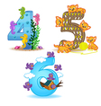 set of numbers with number of animals from 4 to 6 vector image vector image