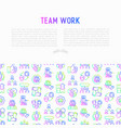 teamwork concept with thin line icons vector image