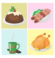 traditional christmas food cards desserts holiday vector image vector image