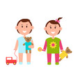 two pretty children with various toys color banner vector image vector image