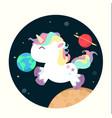 unicorn mini in space vector image