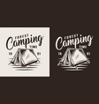 vintage forest camping label vector image vector image