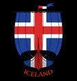 warship of the vikings - drakkar and iceland flag vector image