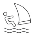 wind sail surf thin line icon sport and water vector image