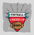 american football emblem with ribbon and ball vector image