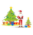 santa claus and christmas tree isolated on white vector image