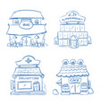 doodle building facade of shop bar cafe mall vector image