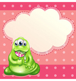 A green monster eating a big lollipop with an vector image vector image