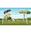 A sporty young girl playing football vector image vector image