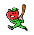 apple baseball mascot vector image