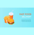 banner for fast food delivery hamburger and vector image