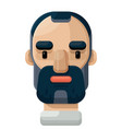 bearded adult man flat icon vector image