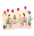 birthday celebration at the table with the family vector image