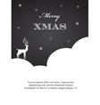 black and white of Christmas deer vector image
