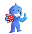blue cartoon caracter with his red calculator on vector image vector image