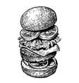 burger sandwich ingredients sketch hand drawn vector image vector image