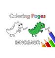 cartoon dinosaur coloring book vector image