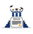college students celebrate graduation flat design vector image vector image