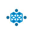cube block technology logo vector image