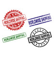 damaged textured worldwide shipping stamp seals vector image