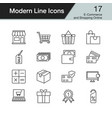 e-commerce and shopping online icons modern line vector image