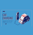 eco car charging isometric banner power station vector image vector image
