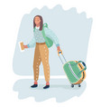 female traveler carrying wheeled bag vector image vector image