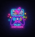 gamepad and smartphone neon sign games for vector image vector image