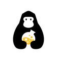 gorilla lab laboratory negative space logo icon vector image