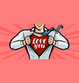 handsome guy is explained in love greeting card vector image