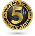 happy 5th years anniversary gold label vector image vector image