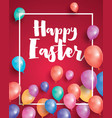 happy easter card with flying balloons and white vector image vector image