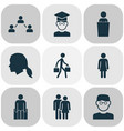 human icons set with smart man student social vector image vector image