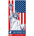 independence day statue of liberty usa flag vector image vector image